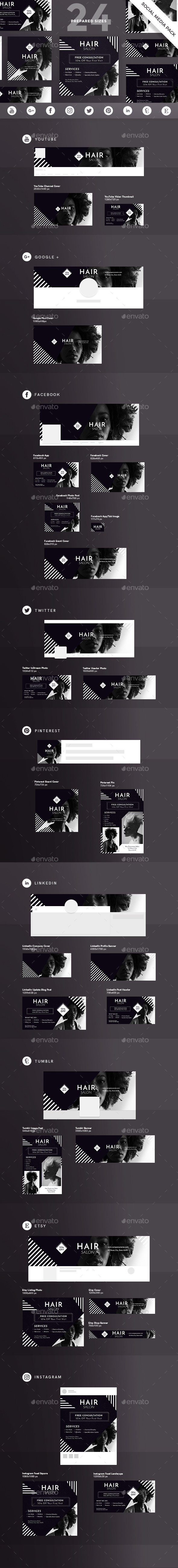 Hair Salon Social Media Pack - Miscellaneous Social Media