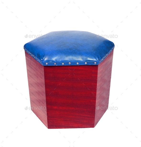 leather foot stool ottoman - Stock Photo - Images