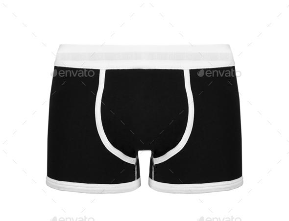 man underwear boxer brief color black - Stock Photo - Images