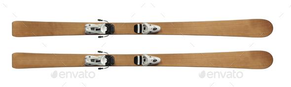 skis isolated on white - Stock Photo - Images