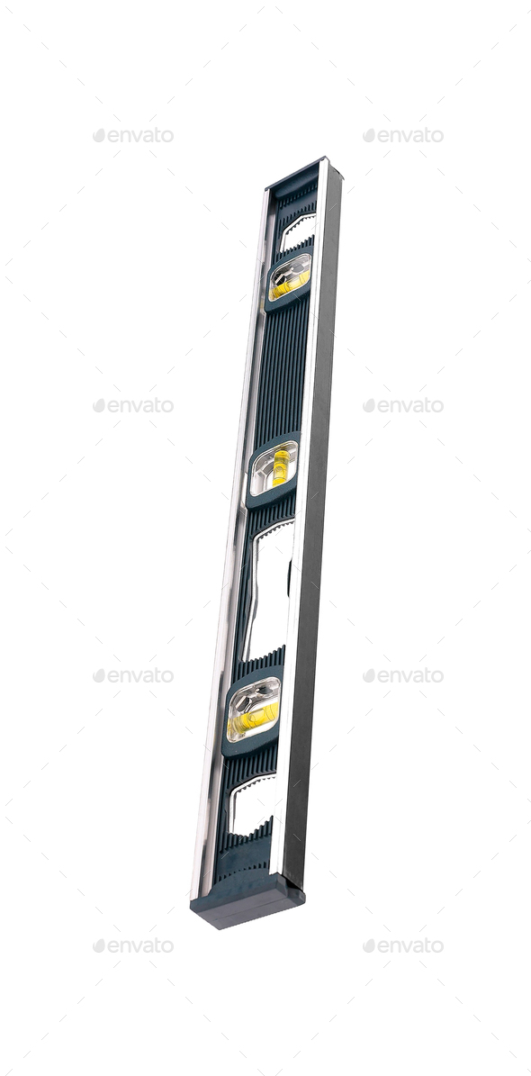 Top view of black spirit level - Stock Photo - Images