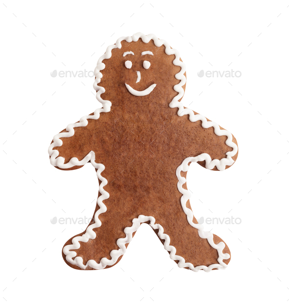 Gingerbread man, christmas cookie isolated on a white background - Stock Photo - Images