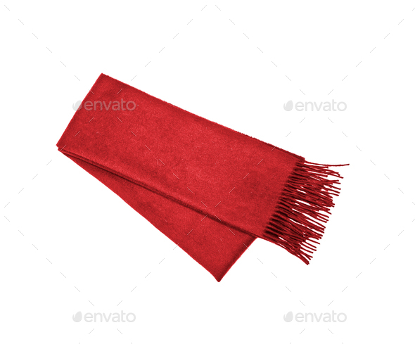 Red winter scarf isolated on white - Stock Photo - Images