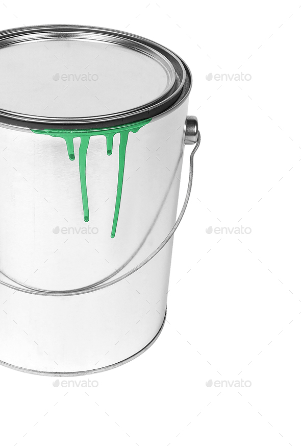 open, painted bucket - Stock Photo - Images