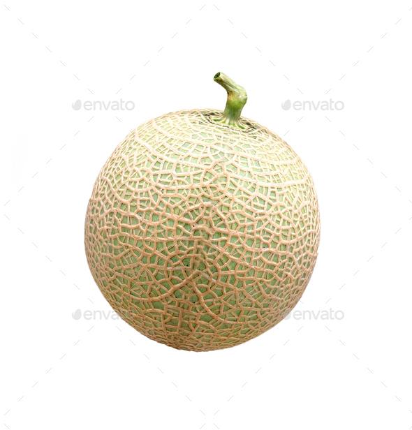 ripe melon on white background - Stock Photo - Images