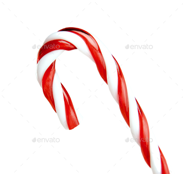 candy cane striped in Christmas colours isolated on a white background - Stock Photo - Images