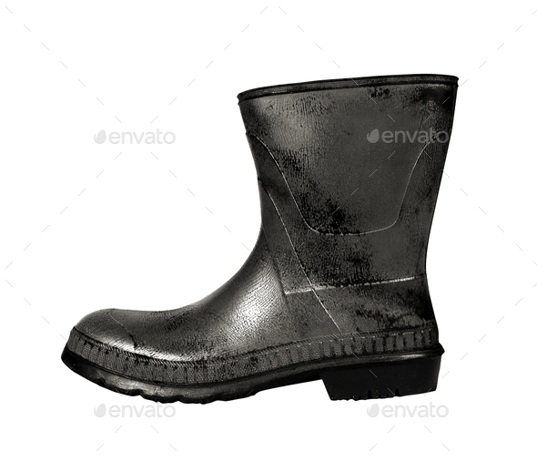 rubber boot black color - Stock Photo - Images
