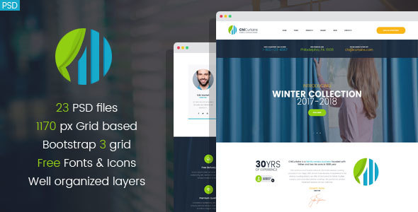 ChiCurtains - Blinds & Curtains Design Company PSD template - Business Corporate