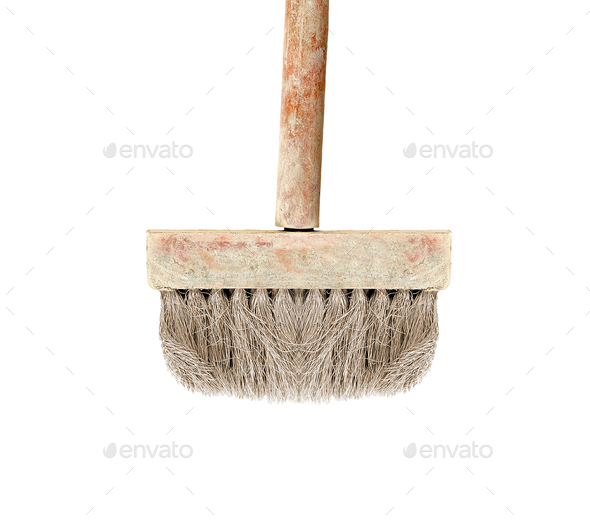 Old dry paint brush isolated - Stock Photo - Images