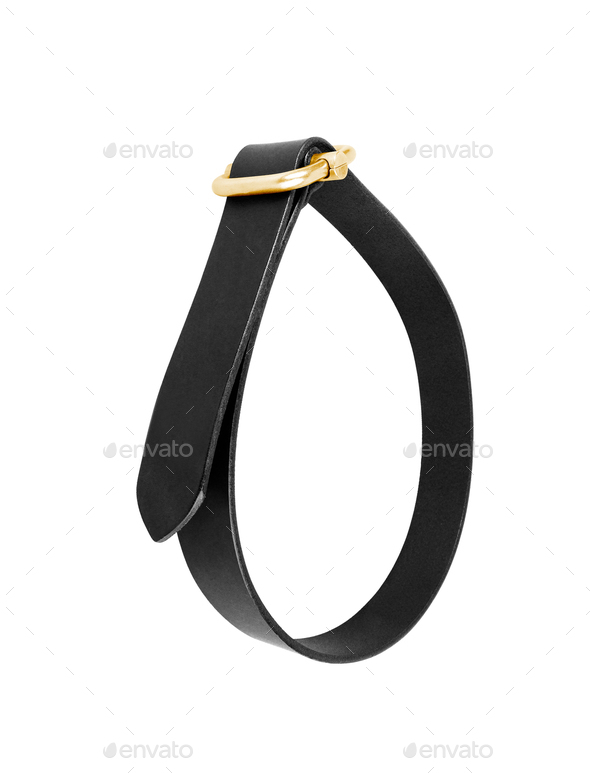 black leather men belt roll - Stock Photo - Images