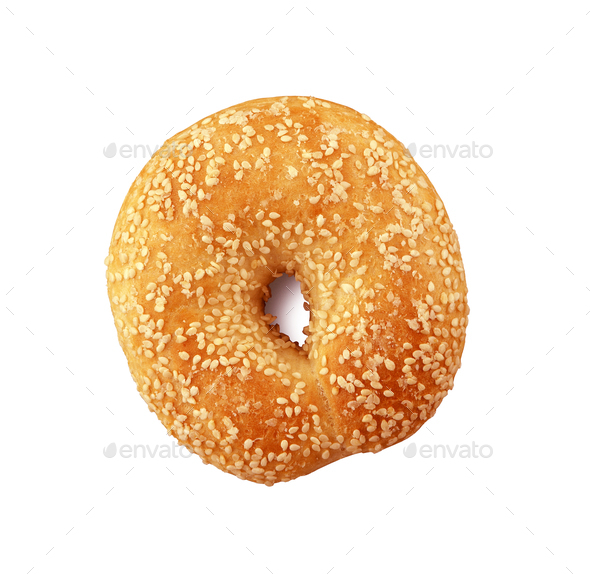 Donut with sesame on white - Stock Photo - Images