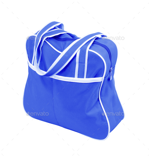 blue fabric bag with zipper - Stock Photo - Images