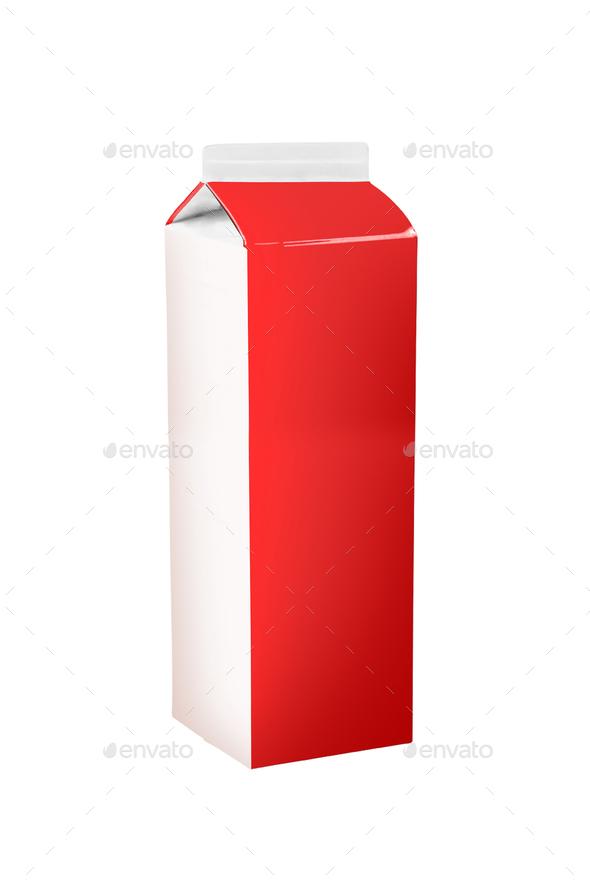 milk box on white - Stock Photo - Images