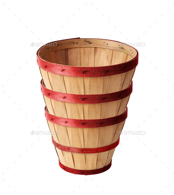 Wooden wattled basket isolated - Stock Photo - Images