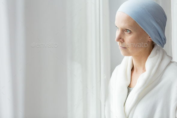 Worried woman with cancer - Stock Photo - Images