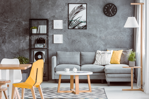 Multifunctional living room with plant - Stock Photo - Images
