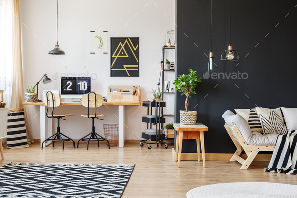 Trendy workspace with two chairs - Stock Photo - Images