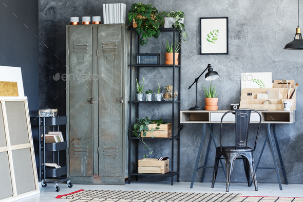 Industrial creative study room - Stock Photo - Images