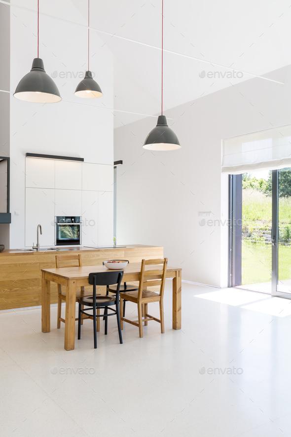 Spacious interior of kitchen - Stock Photo - Images