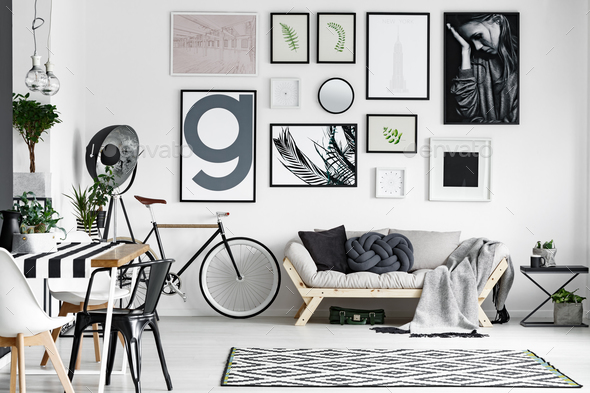 Lounge in black and white - Stock Photo - Images