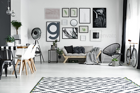 Black and white room - Stock Photo - Images