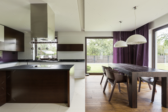 Modern kitchen with steely furniture - Stock Photo - Images