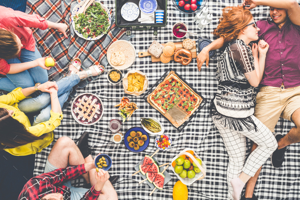 Vegetarian picnic on summer day - Stock Photo - Images