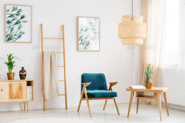 Blue chair in living room - Stock Photo - Images
