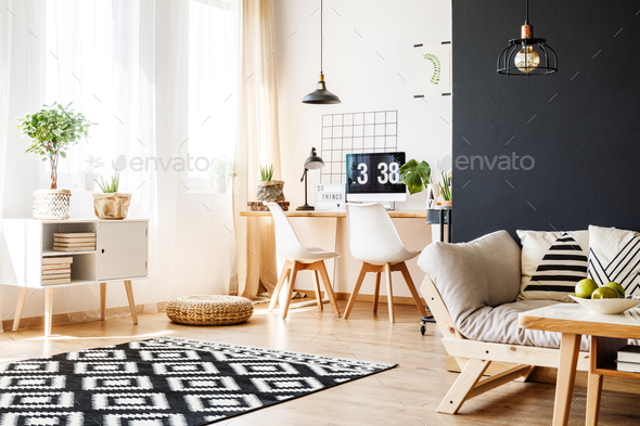 Study space with scandinavian furniture - Stock Photo - Images