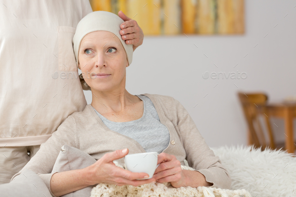 Sick woman and tea - Stock Photo - Images