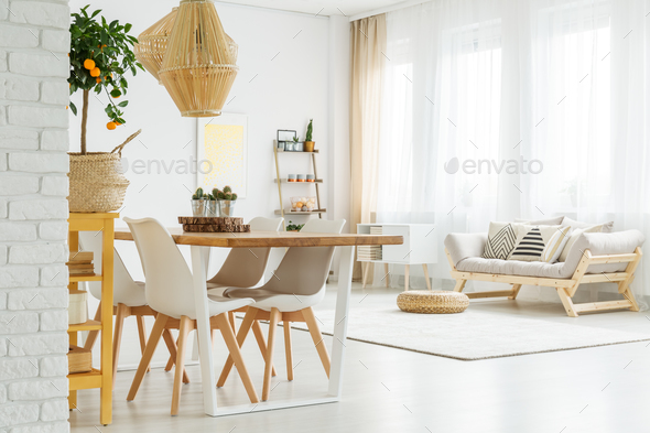 Open space with dinner table - Stock Photo - Images