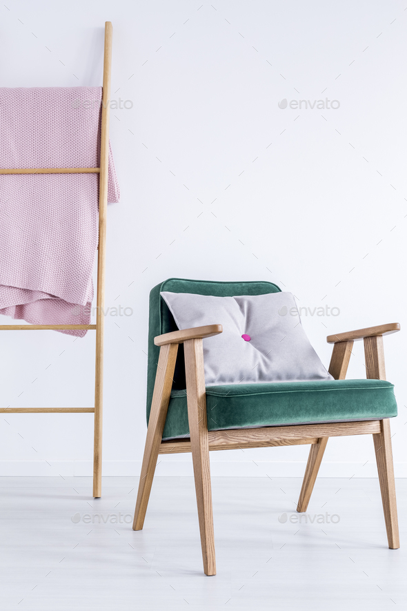Armchair with grey pillow - Stock Photo - Images