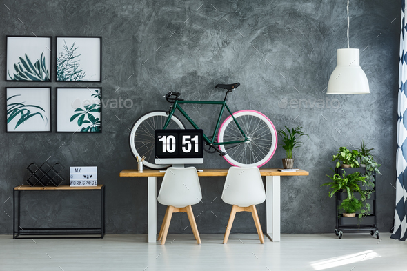 Modern interior with bright posters - Stock Photo - Images