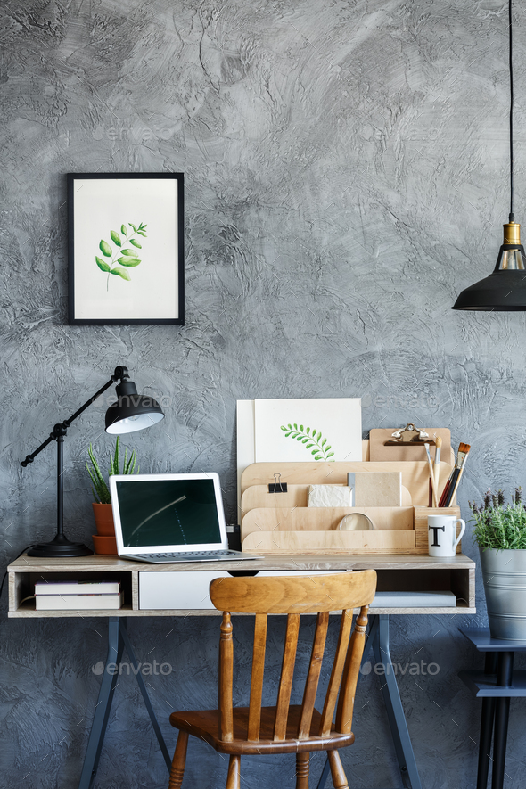 Retro desk with vintage decor - Stock Photo - Images