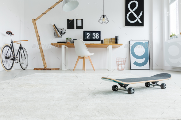 Low angle of minimalist room - Stock Photo - Images