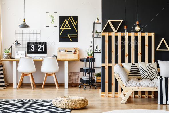 Interior with wooden pallet decor - Stock Photo - Images