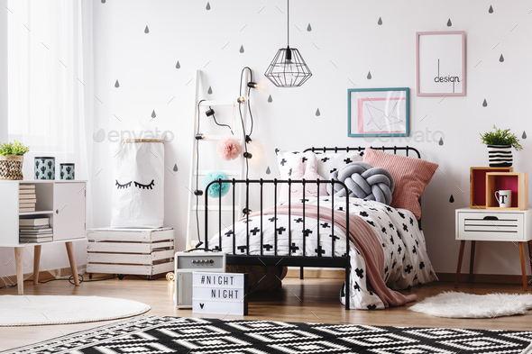 Kids room with white ladder - Stock Photo - Images