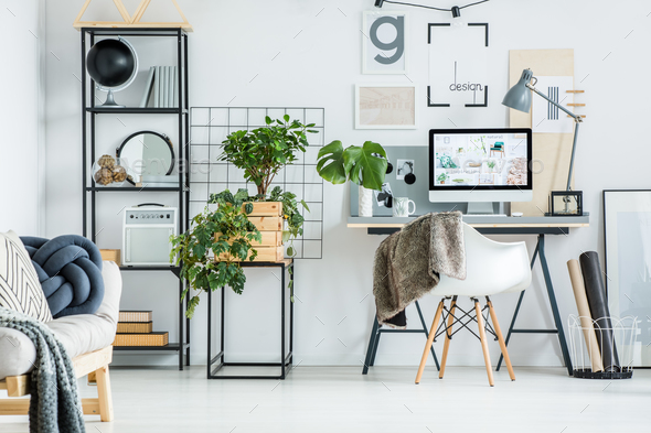Simple home office with tree - Stock Photo - Images
