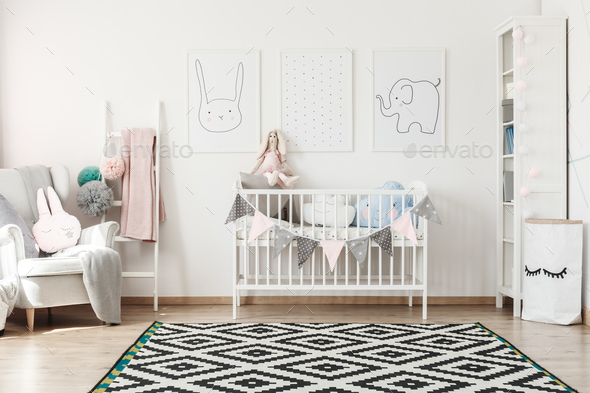 Scandi child's room with bed - Stock Photo - Images
