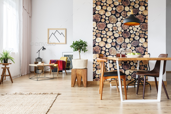 Spacious flat with wooden accents - Stock Photo - Images