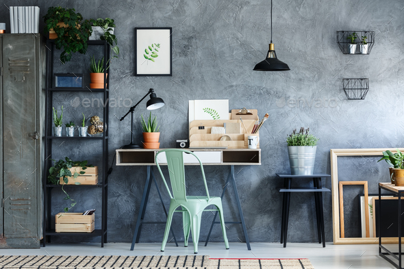 Loft office with vintage decor - Stock Photo - Images