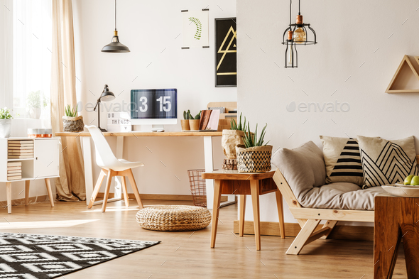 Modern loft with natural accessories - Stock Photo - Images