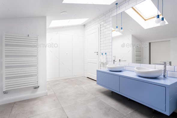 Bathroom with grey floor - Stock Photo - Images