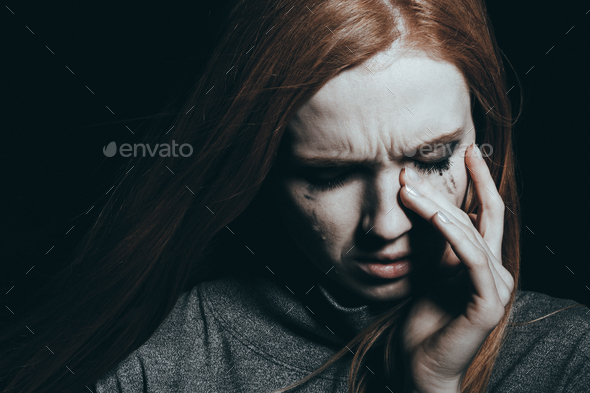 Troubled teenager crying - Stock Photo - Images