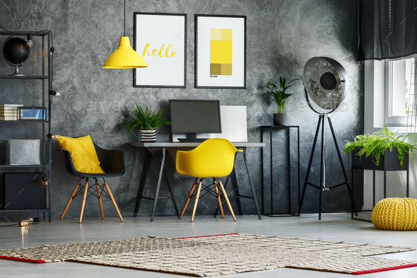 Stylish home office with chair - Stock Photo - Images