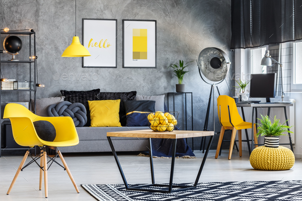 Apartment with pop of yellow - Stock Photo - Images
