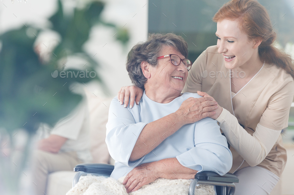 Patient and caregiver spend time together - Stock Photo - Images