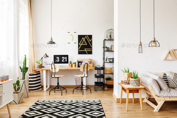 Office and open living room - Stock Photo - Images