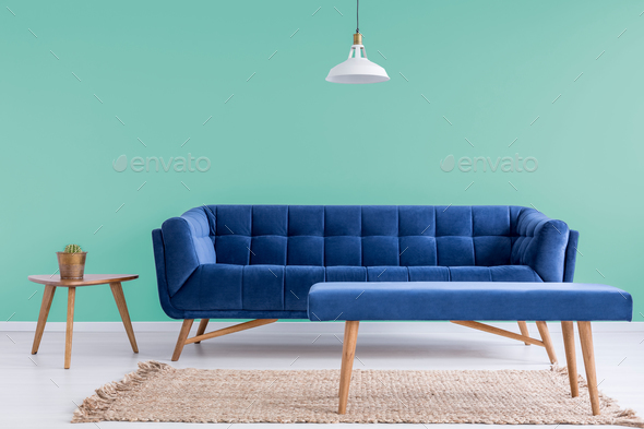 Blue couch in waiting room - Stock Photo - Images