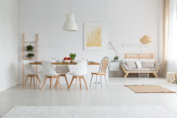 Dining space in loft - Stock Photo - Images